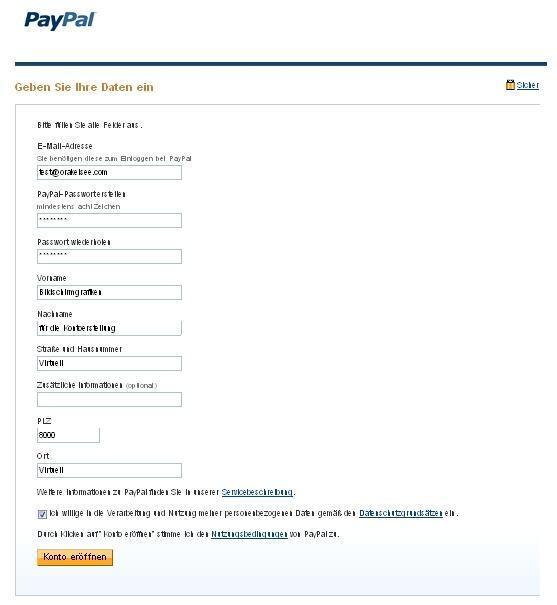 Paypal Registrierung